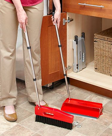 Add a compact and efficient cleaning tool to your home with the Microklen Broomy. Easily fold down the full-sized broom and dustpan to fit behind a cabinet door, in a pantry or any other small space. Thoroughly sweep floors with the broom, and use the to