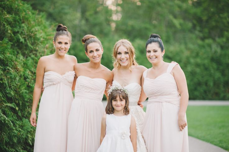 Sabrina & Her Girls  l  Photography by Mango Studios  l  Sabrina's beautiful bridesmaids are wearing Monique L'Huillier in Blush available at Pearl Bridal House.