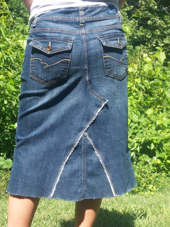 f6c949552ed8 Jean Skirt Below Knee Made to Order This adorable jean skirt was handmade  from upcycled jeans! Its the perfect year-round skirt!