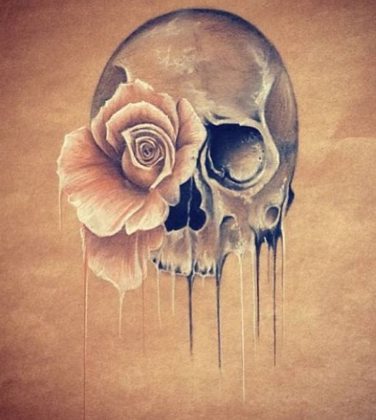 Skull and pink rose with drips. Making skulls pretty!