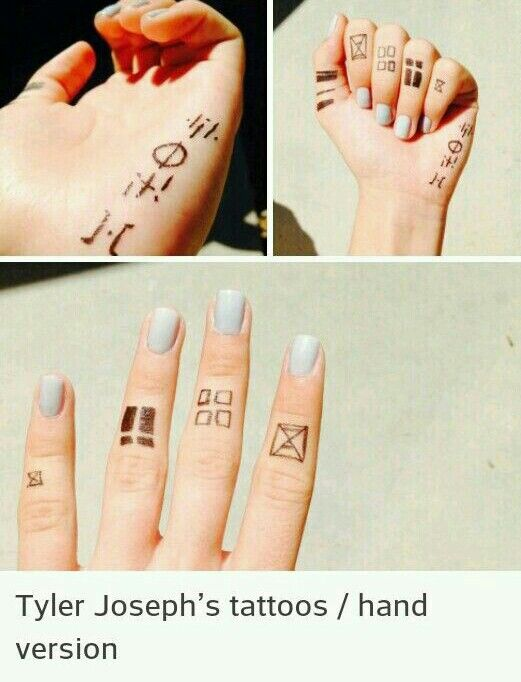 Tyler Joseph's tattoos hand version                                                                                                                                                                                 Mehr