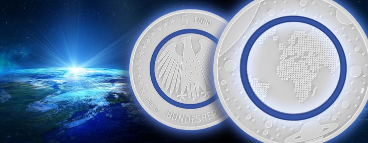 "5 Euro Münze Blauer Planet Erde - 14. April 2016 offizieller Ausgabetag der BRD 5 Euro-Münze 2016 ""Planet Erde"""