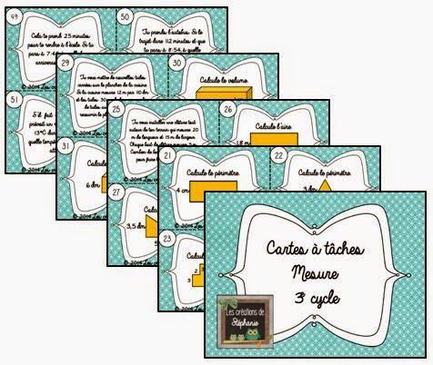 Les créations de Stéphanie: Cartes à tâches - Mesure