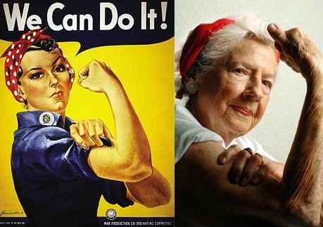 """Geraldine Hoff Doyle, the inspiration for """"Rosie the Riveter,"""" died at age 86 in Lansing, MI. A photo of Doyle working at American Broach & Machine Co. in Ann Arbor, MI in 1942 was reportedly the inspiration for the WWII """"We Can Do It"""" poster. The poster was designed to encourage young women to work or volunteer for the war effort while men were serving overseas."""