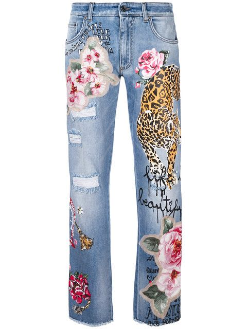 Shop Dolce   Gabbana tiger patch denim jeans.  f8abe2769cff