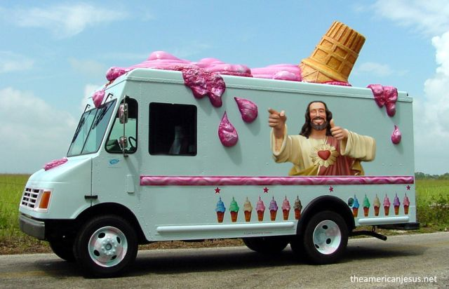 "We're not sure where we've seen this guy before but he's AWESOME! Maybe someday, should self-proclaimed former meth addict Olivia Lopez-Grajeda get legal approval to launch ""Ice Cream For Jesus"" onto the mean streets of Manteca, she'll use this truck to spread her message of hope. (weird ice cream truck image via The American Jesus) - See more at: http://inventorspot.com/articles/we-all-scream-worlds-10-weirdest-ice-cream-trucks#sthash.Rg9t5Y1W.dpuf"