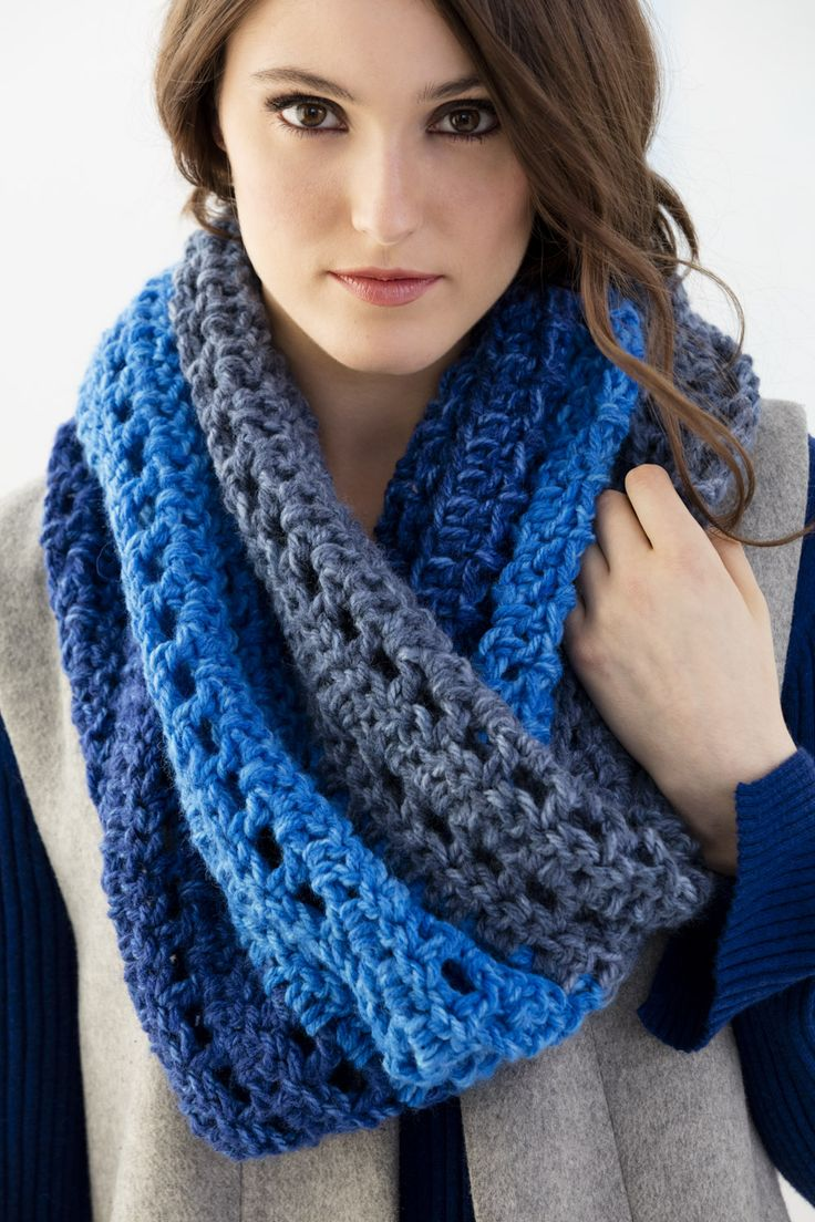 Make this beautiful ombre tri-color cowl with Wool-Ease Tonal! Free crochet pattern calls for 3 balls of yarn (pictured in royal blue, lapis, and denim) and a size N-13 (9mm) crochet hook.