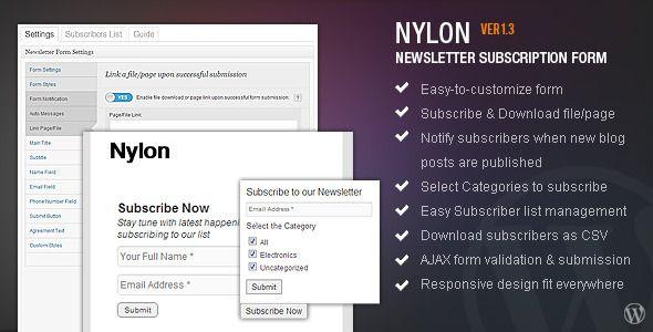 nyLON Subscription form - WP Plugin (Newsletters)