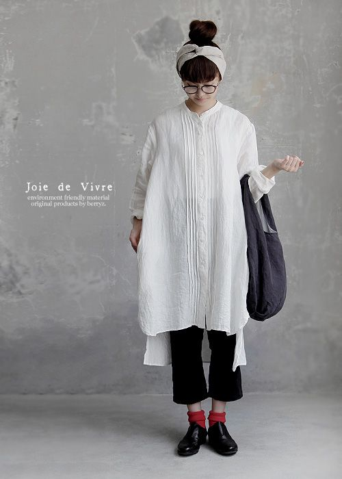 【送料無料】Joie de Vivre ベルギーリネンワッシャー ピンタックロングシャツワンピース