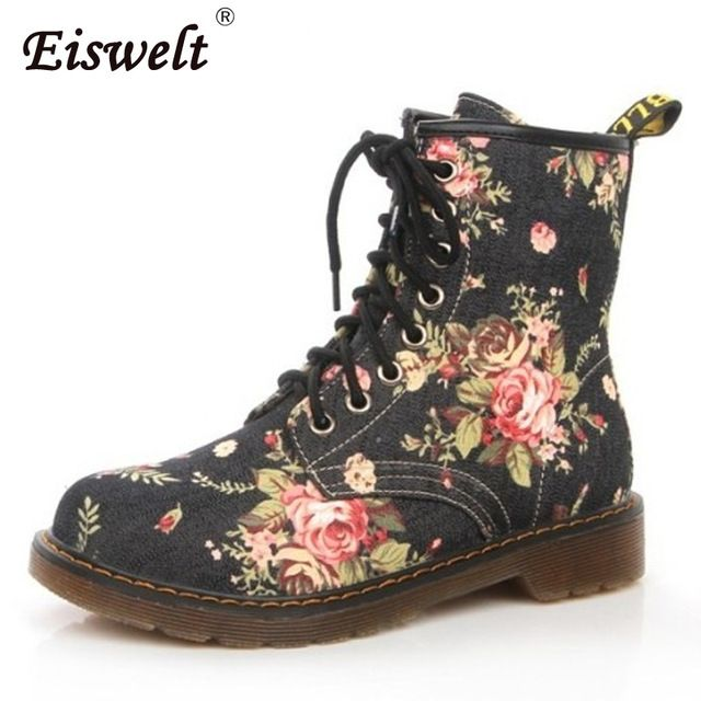 Good Deal $18.41, Buy EISWELT Woman Martin Boots Fashion Flower Shoes Lace Up Motorcycle Oxfords Flats Ankle Boots For Women#ZQS193