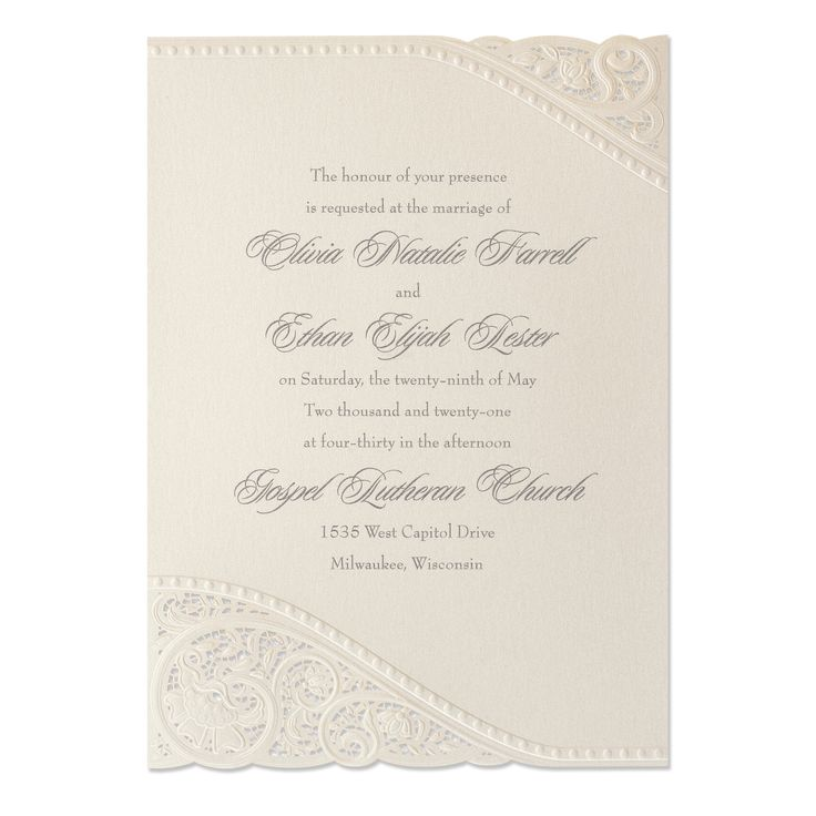 Divine Day on Ecru Shimmer Wedding Invitation