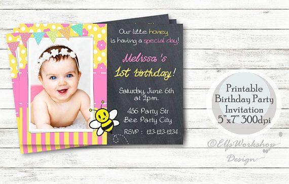 Bee birthday invitation Bee birthday party  Bee invitation
