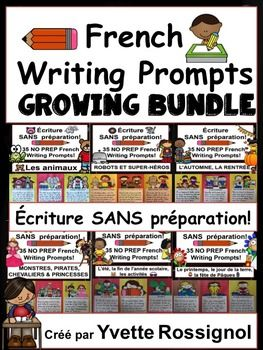 A total of 525 French writing prompts for the whole year! A DEAL you will not regret!