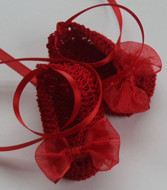 Crocheted Newborn Baby Booties Girl Crib Shoes by babycrochets