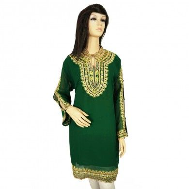 Green Georgette Long Sleeves Women Kurti Floral Embroidered Free Shipping Sz Xl