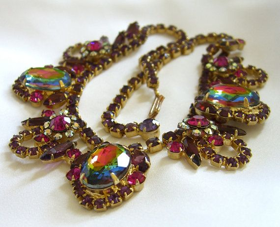 Juliana Watermelon Heliotrope Necklace Delizza and Elster  - Rare and Hard to Find Book Piece Vintage 1960s D & E Jewelry.