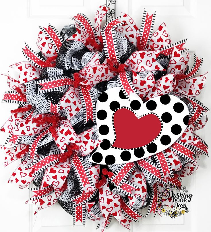 Valentine's Day Polka Dot Heart Sign Deco Mesh Wreath
