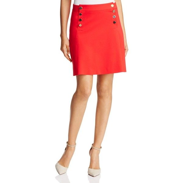 Three Dots Button Bib Mini Skirt (200 CAD) ❤ liked on Polyvore featuring skirts, mini skirts, current, red short skirt, nautical skirts, red skirt, short skirts and short mini skirts