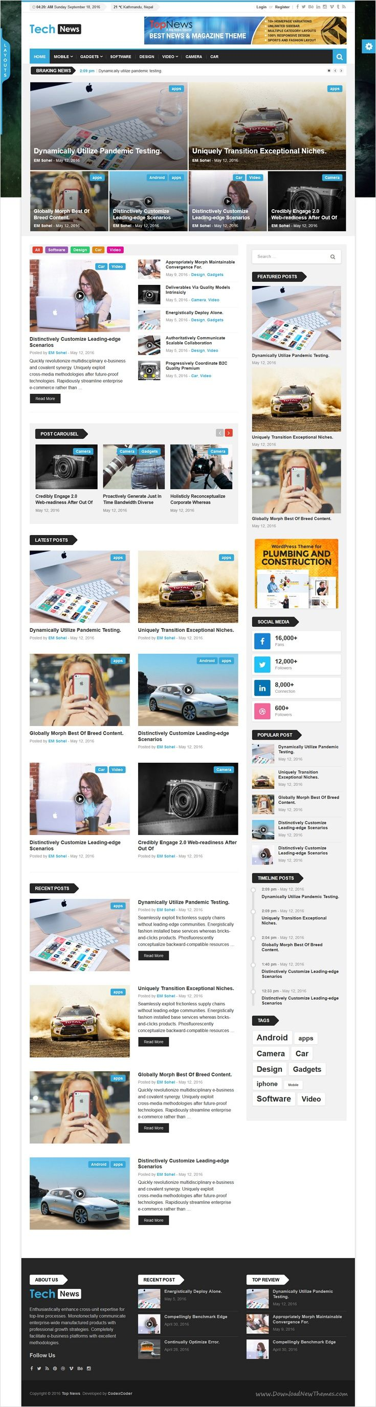 Top news is a fast loading and modern wordpress theme for tech