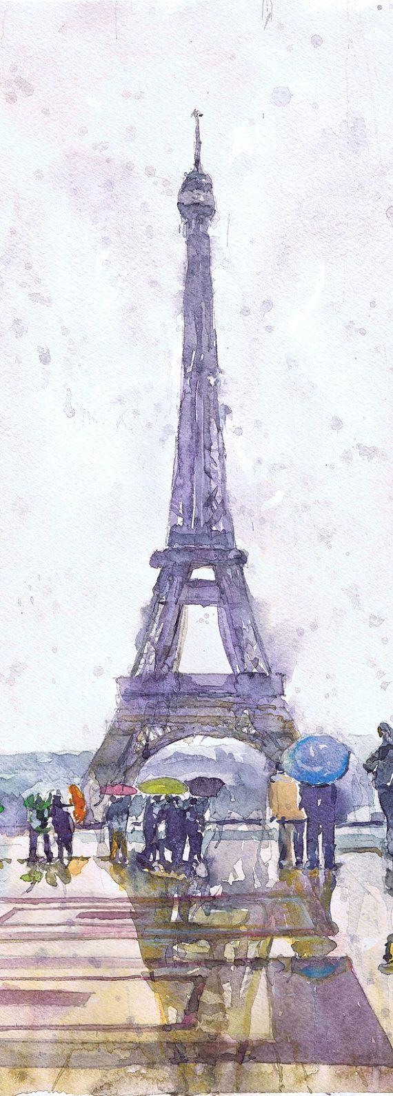 Paris Print, Watercolor Painting, Paris Poster, Paris Decor, Rain, Art…