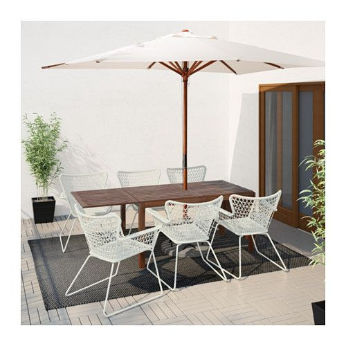IKEA ÄPPLARÖ/HÖGSTEN Chairs W Armrests, Outdoor Brown Stained/white The  Hole In The Middle Of The Table Top Keeps Your Parasol In Place.