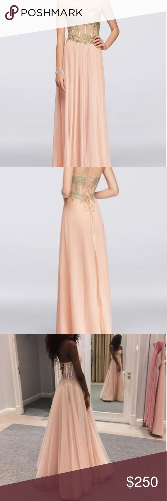 Peach corset dress Long jersey gown is richly appliqued with gold lace, and features a corset-style, sheer illusion bodice complete with boning for structure. Blondie Nites Dresses Strapless