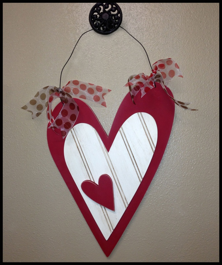 Valentines Wood 3 Heart Wall Or Door Hanger By JWDecor On Etsy