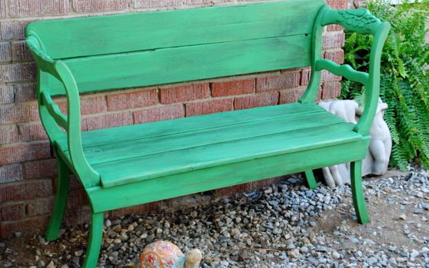 Bench out of 2 recycled dining chairs + lumber
