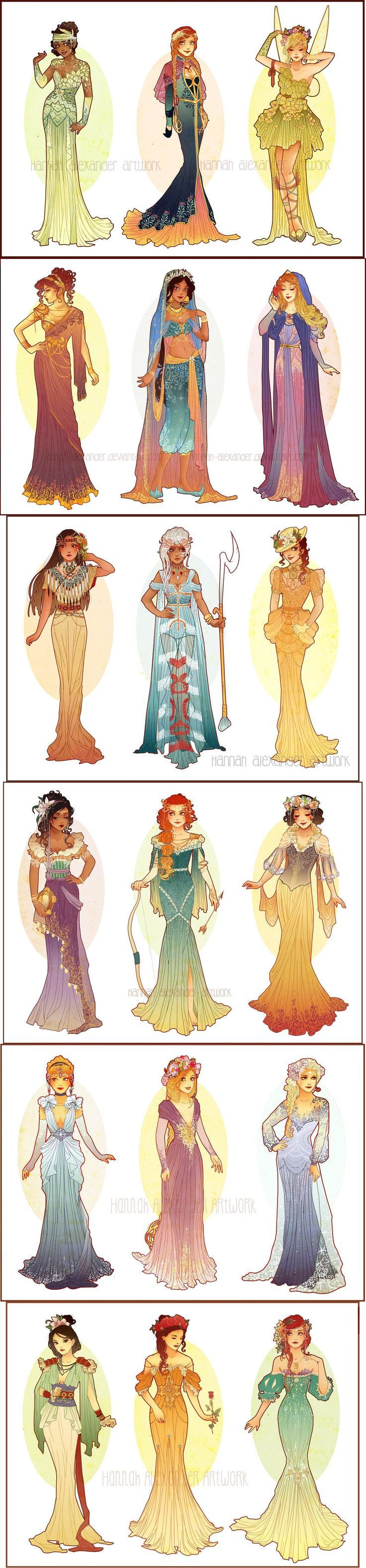 Disney Princess Character Design : Art nouveau costume designs by hannah alexander