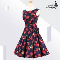 Blue Strawberry Print Audrey Hepburn 50s 60s Vintage Rockabilly Dress Sleeveless