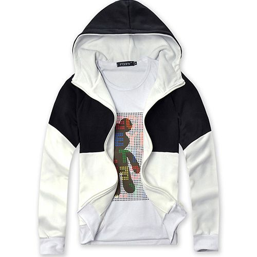 Fancy Dress Assassins Creed 3 III DESMOND Slim Fit Black and White Blazer Hoodie Casual Outerwear