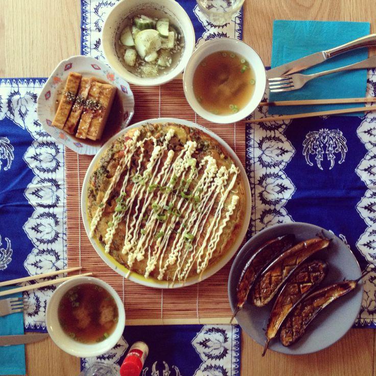 Japanese pancake with miso grilled eggplant, tofu, miso and pickles #japanesefood #feast #pancake