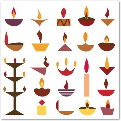 Dashing Diyas - Diwali Cards in White   Pooja