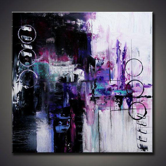 Titel: HINTS -Acryl auf Leinwand -Support: STRETCHED Ready to Hang -Größe: 30 x 30 x 3/4 -Farben: schwarz, weiß, lila, magenta -Zwei Schichten schützenden Gloss Lack werden angewendet, um das Gemälde vor UV-Strahlen und Staub zu schützen. -Gemälde ist signiert und datiert vom Künstler auf der Rückseite Keywords: Kunst, Malerei, abstrakt, Acryl, Leinwand, zeitgenössische, moderne, Kunst Dekor, Wand hängen, große, original Gemälde