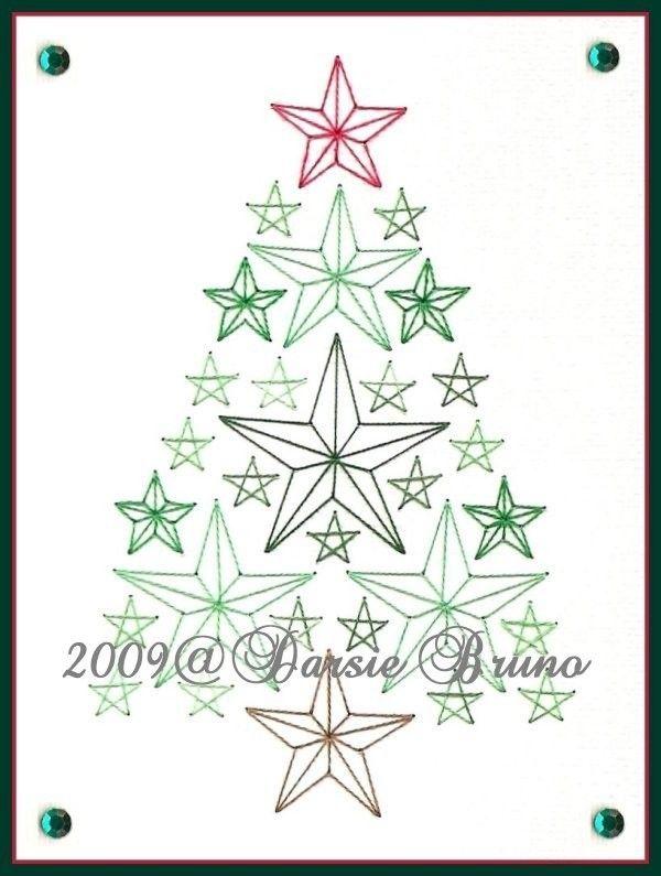 Sterren kerstboom papieren borduurwerk patroon voor door Darse