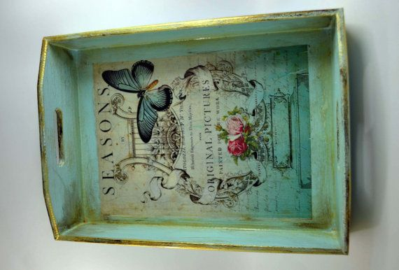 Shabby chic serving tray wood tray by Vintageanddecoupage on Etsy, $39.00