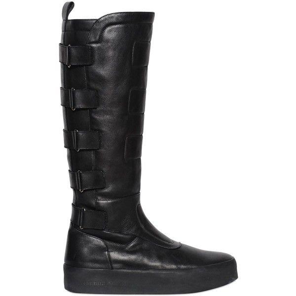 Bikkembergs Men 40mm High Biker Leather Boots found on Polyvore featuring polyvore, men's fashion, men's shoes, men's boots, black, mens side zipper boots, mens biker boots, mens velcro strap shoes, mens black leather boots and mens boots