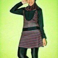 BRMD201423 Baju Renang Muslimah Dewasa Warna Merah Motif Abstrak beli di ellima.web.id