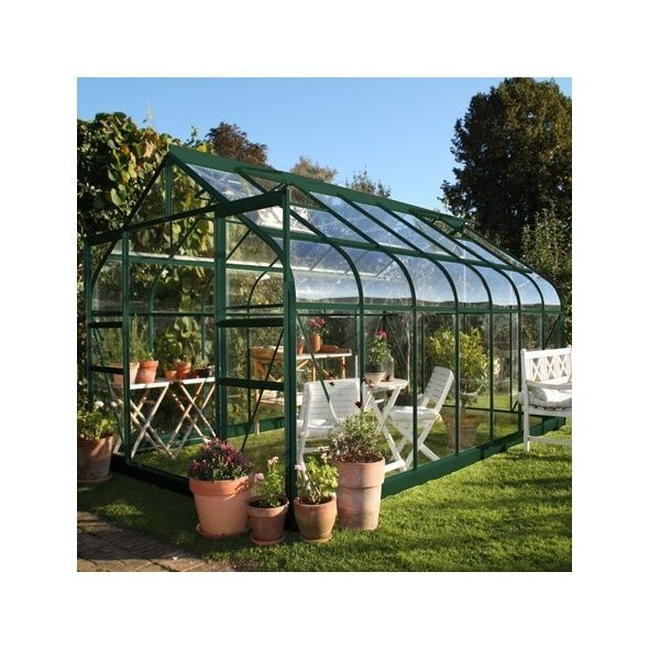 Serre de jardin Supreme verre trempé 11.4m² + embase - Halls ...