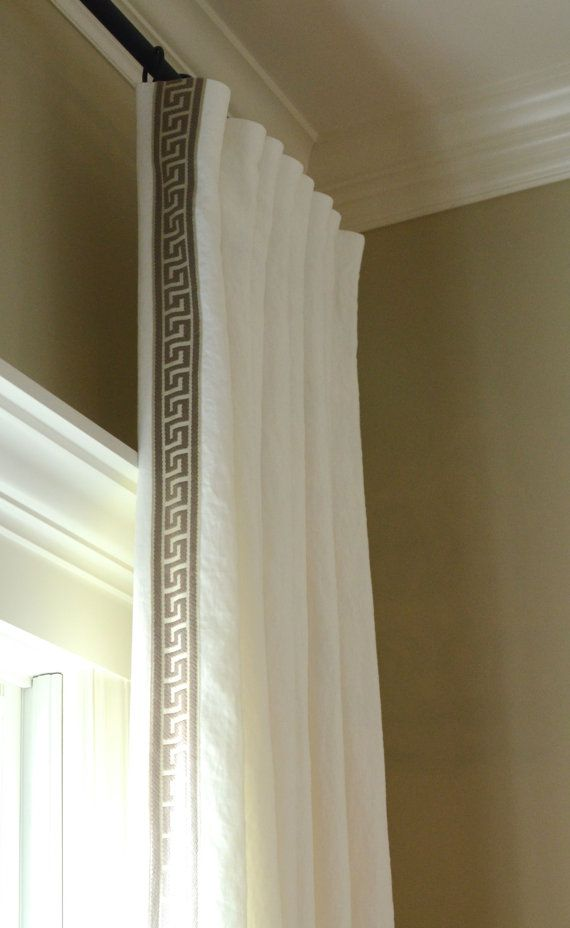 Pleated Linen Drapery Panels With Greek Key Trim Made To Order Warm Popular And Natural Linen