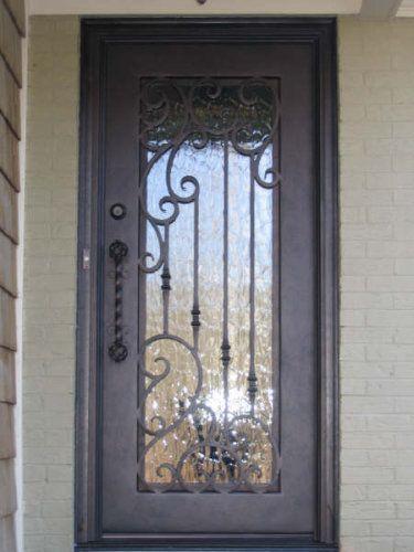 Single Square Top Wrought Iron Front Door Calhoun