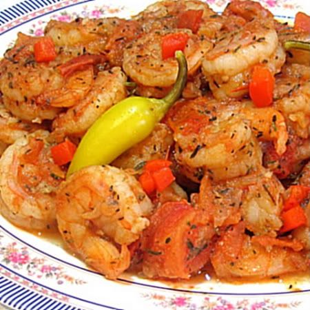 Camarones a la Mexicana. When a dish is called a la Mexicana, you know it is made with tomatoes, onions and chiles.