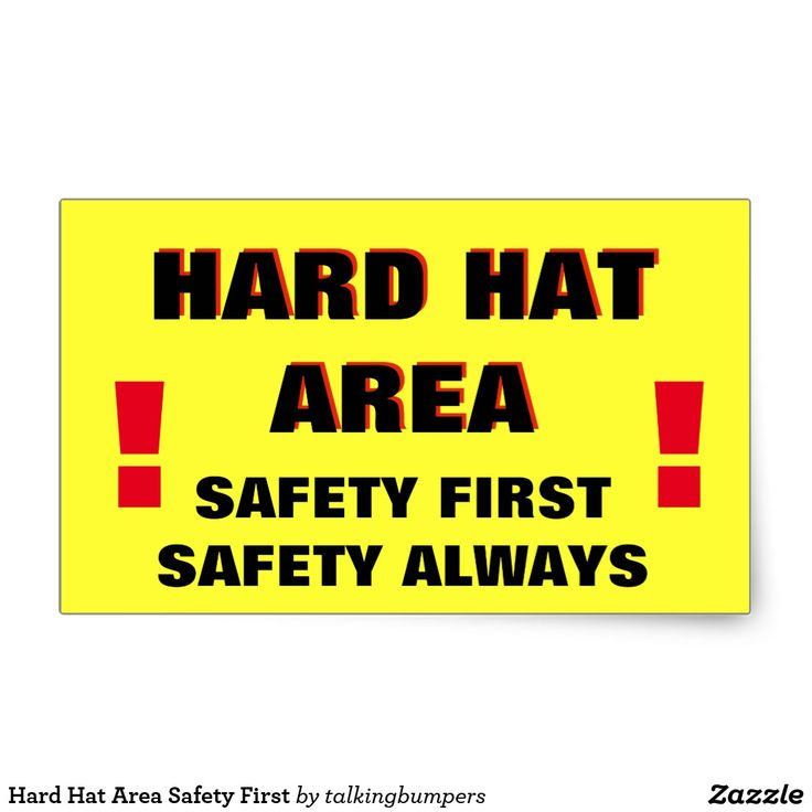 """Hard Hat Area Safety First Rectangular Sticker. Make your unique style stick by creating custom stickers for every occasion! From special mailings and scrapbooking to kids' activities and DIY projects, you'll find these stickers are great for so many uses. Add your own designs, patterns, text, and pictures! 4 stickers per sheet Dimensions: 4.5""""l x 2.7""""w per sticker"""