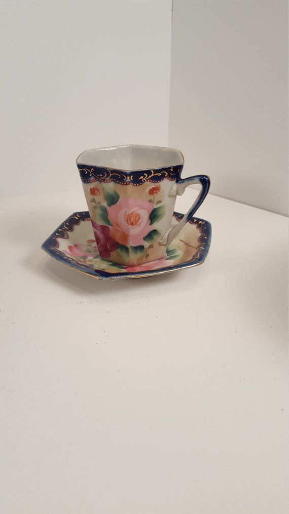 Nippon TE-Oh vintage, antique blue and floral teacup and saucer