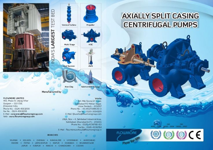 FLOWMORE range of Horizontal Split Casing Pumps offer widest range of selection depending upon the pumping liquid from Clear Water to varying degrees of contamination.  Applications & Services:  Power Generations Cooling Water, Circulating Water, Make up Water, Misc. & Auxiliary Services. Fire Fighting Industrial Steel Plants, Sugar Plants, Paper & Textile Mills, Rolling Mills etc.