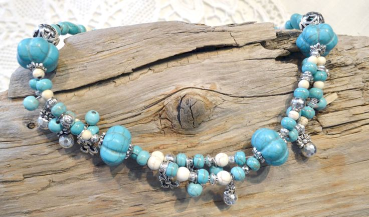 NECKLACE & EARRINGS - Beaded Jewelry Set, Gemstone Jewelry 2pcs Set, Blue Turquoise and Silver, Two strands Necklace by LKArtChic on Etsy