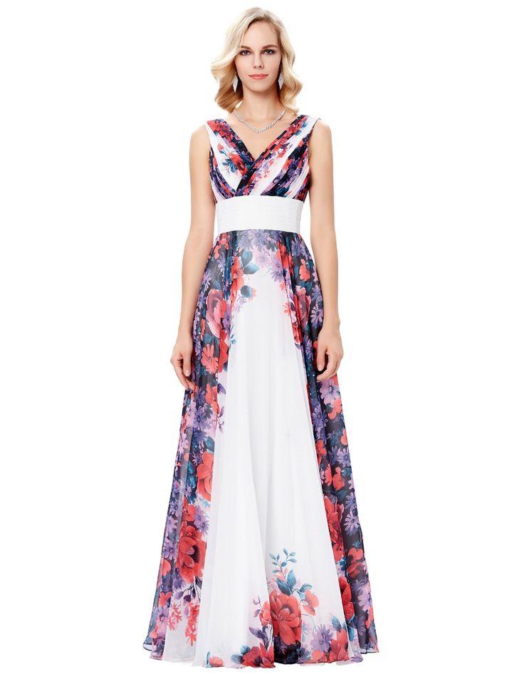 Rochie alba de ocazie cu imprimeu floral R77