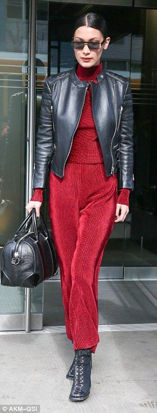Bella Hadid stuns in crimson jumpsuit and edgy leather jacket in NYC