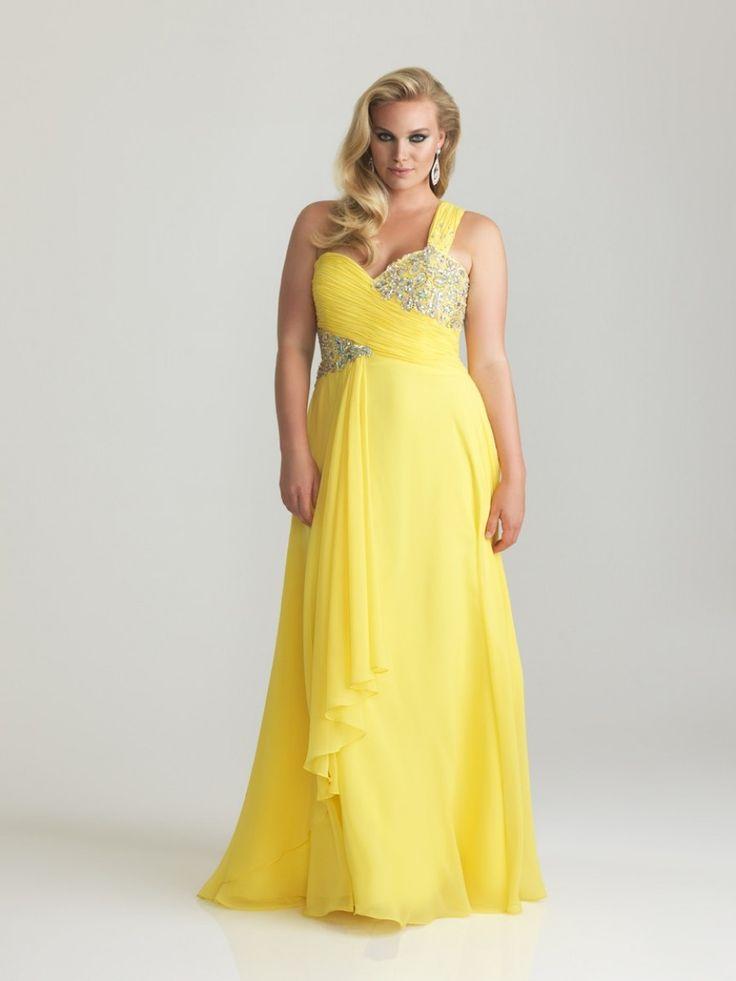 A-line One Shoulder Floor-length Chiffon Plus Size Evening Dress Prom Dresses Cheap 00201018