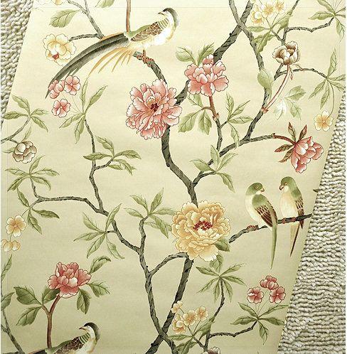 6 kleur vogels-bomen-bloemen-chinoiserie-wallpaper vogels boom blossom statement 3D behang roll voor achtergrond muur R313 tapet